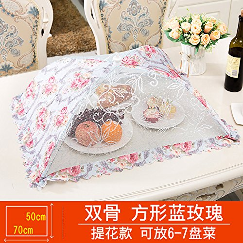 BBDQX Folding cover, dish cover, round food cover, anti fly cover, dining table cover, leftover food, vegetable cover, square cover, dish umbrella cover, bowl cover,Square blue rose -