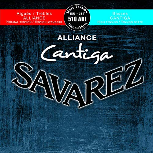 Savarez 510 ARJ Saiten für Klassikgitarre Alliance Cantiga Satz 510ARJ Mixed Tension blau-rot Diskant normal, Bass high