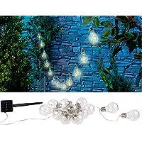 Lunartec Weihnachtslichterkette: Solar-LED-Lichterkette im Glühbirnen-Look, 12 Birnen, warmweiß, 8,5 m (Solar-Lichterkette für Garten)