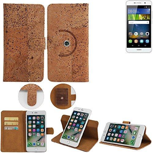 K-S-Trade Schutz Hülle für Huawei Y6Pro LTE Handyhülle Kork Handy Tasche Korkhülle Handytasche Wallet Case Walletcase Schutzhülle Flip Cover Smartphone