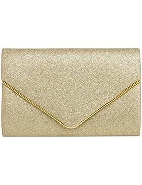 CASPAR TA365 elegante Envelope Glitzer Clutch Tasche / Abendtasche mit langer Kette