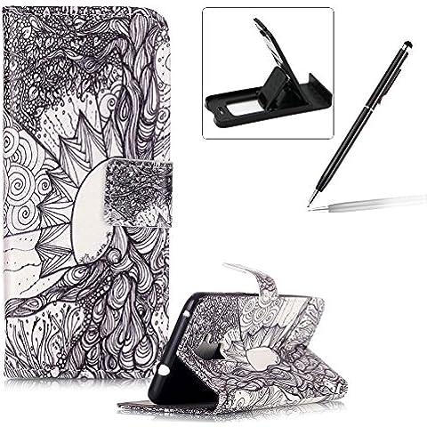 Huawei Honore 5C Funda de cuero,Huawei Honore 5C Llevar bolsa de la carpeta de la cubierta,Herzzer Alta calidad elegante [retro de la flor Patrón] Fold PU caja de la carpeta de primera calidad Cartera de cuero del soporte del tirón, los titulares de la cubierta elegante de la caja para Huawei Honore 5C + 1 x Negro cellphone pata de cabra + 1 x Negro Lápiz