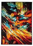 Hochwertiger Teppich LUXUS Modern Verschiedene Muster und Größen Bunt Schwarz Rot Orange