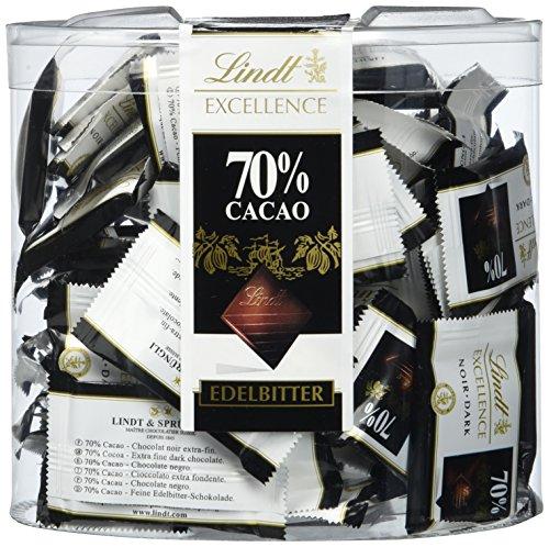 Lindt Excellence Mini Täfelchen 385g, einzeln verpackt und extra dünne Excellence 70% Täfelchen, feine Edelbitter-Schokolade, 1er Pack -