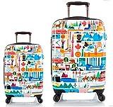 Kofferset, Gepäckset, Reisegepäck by Heys - Premium Designer Hartschalen Kofferset 2 TLG. - Künstler Fernando Kanada Koffer mit 4 Rollen Medium + Koffer mit 4 Rollen Gross