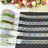 Spitze Glitter Washi Tape, bunt, dekorative Sticky Malerkrepp Masker Klebeband DIY Craft Scrapbooking Dekorieren Aufkleber zufällige Muster Set von 5(bunt glitter 1)
