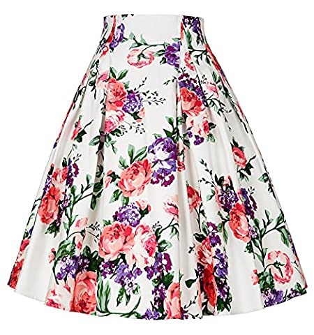 Colorful Flower Rockabilly Short Cotton Skirts Size XL