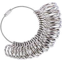 Kinvac Ring Sizer Gauge Set Metal Ring Measure Tool Finger Sizing Tools Rings Size Measurements UK Sizes A-Z Metal Steel