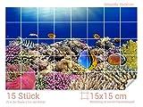 Graz Design 761661_15x15_50 Fliesenaufkleber Fische/Korallen für Kacheln | Bad-Fliesen mit Fliesenbildern überkleben (Fliesenmaß: 15x15cm (BxH)//Bild: 75x50cm (BxH))