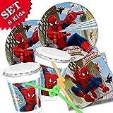 SPIDERMAN- Kit coordinato per festa e compleanno,52 pezzi, addobbi bambini per 8 persone