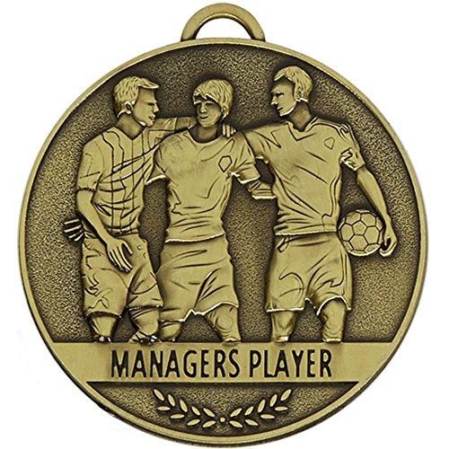 Trophy Team Spirit Spieler, Fußballmedaille, 60 mm, mit kostenloser Gravur bis zu 30 Buchstaben, inkl. Band