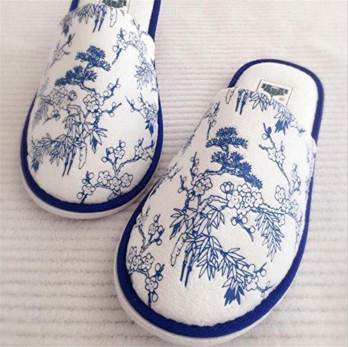 pantofole Unisex Hotel pantofole a scomparsa con il piede punta per l'hotel, la casa, il viaggio, la spa usa 5 paia , blue and white slippers , 28cm blue and white slippers