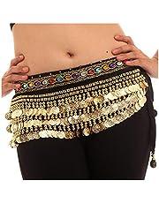 Vritraz Women's Chiffon Belly Dance Hip Scarf Waistband Belt Skirt Mixed Colors Beads Black-256