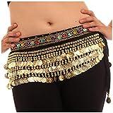 #8: Vritraz Women's Velvet Belly Dance Hip Scarf Waistband Belt Skirt with Multi color beads and 248 Ringy Golden Coins
