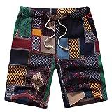 GreatestPAK Pants Lose Shorts Herren Sport Leinenhose Printed Beach Pants,Medium,Dunkelblau