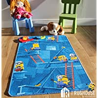 Kids Fun Minions Cartoon Rug Playful Blue Yellow 3D Style Childrens Bedroom Mats 80cm x 120cm