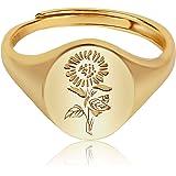 YeGieonr Plata de 925 para Mujer-Anillo de Sello Con Grabado de Flores Chapado en oro de 18 Quilates Anillo de Declaración Mi