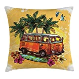 Surf Pillow Case Hippie Classic Old Bus with Surfboard Freedom Holiday Exotic Life Sketchy Art 30 X 20 Inches