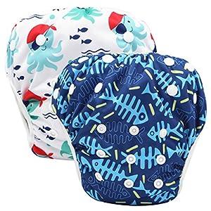 Storeofbaby Pannolini da nuoto Baby pannolini riutilizzabili Cover impermeabile per 0-36 mesi Unisex Confezione da 2 14 spesavip