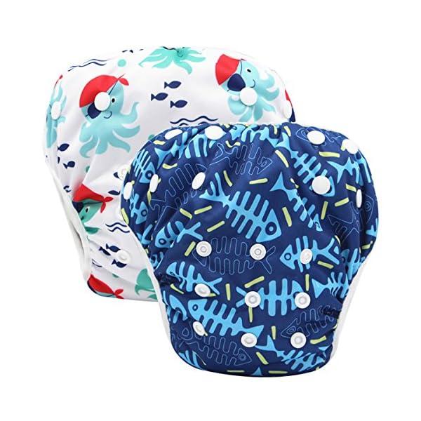 Storeofbaby Pannolini da nuoto Baby pannolini riutilizzabili Cover impermeabile per 0-36 mesi Unisex Confezione da 2 1 spesavip