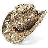 HongGXD Fashion Handwork Cap für Frauen Männer 100% natürliche Jazz Stroh Cowboyhut Frauen Männer Handwork Weave Cowboy Hüte für Lady Dad mit Band (Color : Black, Size : 56-58cm)