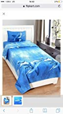 Gharshingar 140 TC Blue Dolphin Cotton Look Single Bedsheet with Pillow Cover