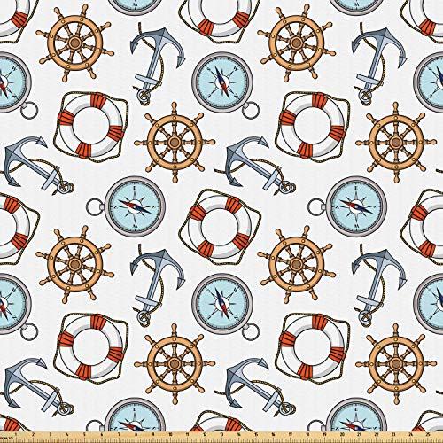 ABAKUHAUS Kompass Stoff als Meterware, Helm Rettungsring Anker, Microfaser Multi Zweck Dekostoff für Kunsthandwerke, 3M (160x300cm), Mehrfarbig