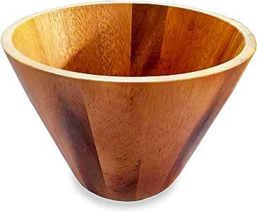 roro Classic Acacia Wood Salad Bowl Assorted 10 inch x 7 inch straight