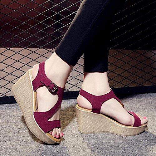 L@YC Sandales éPaisses Pour Femme ÉTé à Talon Hautes Plateforme éTanche avec Grande Taille 2017 Chaussures Pour Femmes red