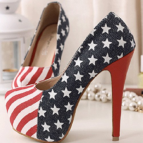 Oasap Damen Plattform Stiletto Pumps mit amerikanische-Flagge-Mustern Multicolored