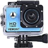 VEMONT Cámara Deportiva 1080P HD Impermeable 30M Pantalla de 2.0 Lente de Gran Angular de 120 Grados Multiples Accesorios par