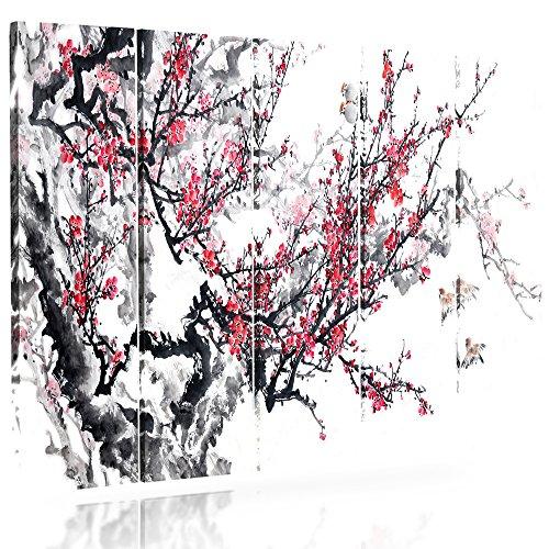 Feeby Frames, Cuadro en lienzo - 5 partes - Cuadro impresión, Cuadro decoración, Canvas (CEREZO JAPONÉS, BLANCO, ROJO, NEGRO) 100x200 cm, Tipo C