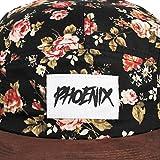 Phoenix Black Beauty Vol. II 5-Panel Cap Rose Schwarz mit Blumen Unisex Baseball Mütze -