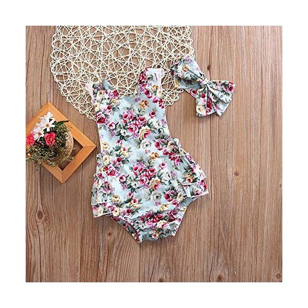Covermason Bebé Niñas Floral Impresión Monos Linda Bodies Mameluco y Diademas (1 Conjuntos) (12-18M, Azul) 4
