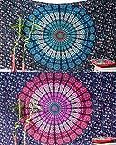 Folkulture - Juego de 2 tapices de mandala hippie indio mandala para picnic con diseño de hippy Boho Gypsy de algodón, color azul y rosa