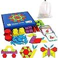 EACHHAHA Puzzle en Bois-Tangram-Jouets Montessori-Jouets éducatifs classiques-155 Formes géométriques et 24 Cartes de Concept