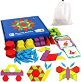 iLink Wooden Pattern Blocks Jigsaw Puzzles for Kids,Early Educational Montessori Tangrams Toys with 155 Pcs Geometric…