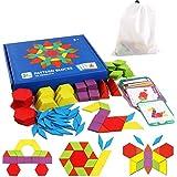 Rompecabezas de Madera con Forma geométrica, Juguete de Tangram, Divertido Juguete Educativo, con 155 Piezas de Formas geomét