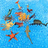 Leokon Newest Animals Figure Set,12 Pieces Sea Animals + 10000 Water Beads (Scene Use) , Realistic Wild Vinyl Pastic Animal Education Learning Party Favors Toys For Boys Girls Kids Playset By Leokun