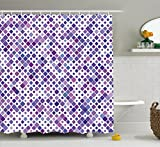 Abakuhaus Duschvorhang, Lila Retro Mosaik Kreatives Muster Quadrat Rhythmus Abstrakte Kunst Druck Entwurf Lila und Töne, Blickdicht aus Stoff mit 12 Ringen Waschbar Langhaltig Hochwertig, 175 X 200 cm