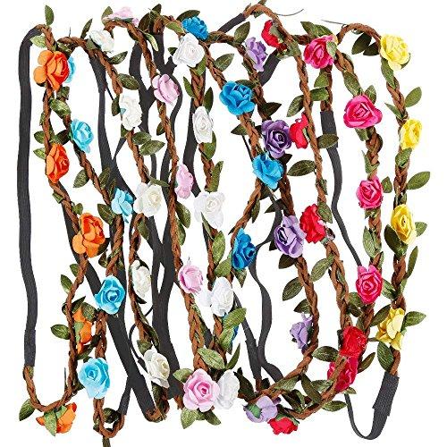 Rovtop 10 Stück haarband mit blumen Stirnband Haarband Kopfband Blume Haarbänder Kranz-Blumenstirnbänder mit elastischem Band für Frauen Mädchen mehrfarbig Blume (Blau, Weiß, Rot, Stirnband)
