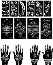 Henna Tattoo Stencil/Temporary Tattoo Temples Set of 14 Sheets,Indian Arabian Tattoo Reusable Stickers Stencil