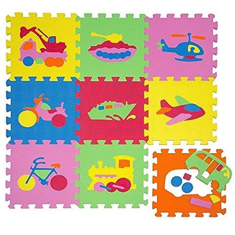LittleTom Puzzlematte Spielmatte Fahrzeuge Spielteppich Schaumstoff Puzzle Kinderteppich