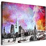 Hamburg Wandbild - 100 x 70 cm Querformat Bild - Leinwand mit Rahmen ( Leinwandbild ) Städte Kunstdrucke Skyline, Turm, Brücke Wanddeko St-01-12