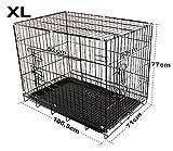 PetCargo Cage pliante pour chien en métal, 2portes, idéal pour le transport de chiots, noir XL (106,5x71x77)
