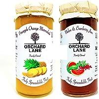 Orchard Lane Combo Pack - Melon Cranberry Jam + Pineapple Orange Marmalade Combo - 280 gm Each, No Preservatives, No…