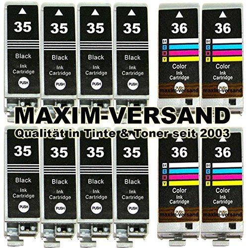 12 Druckerpatronen Ersatz für Canon Tintenpatronen PGI-35 Schwarz & CLI-36 Color kompatibel mit Pixma Inkjet Drucker iP100 iP100wb iP110 iP110wb Multipack