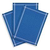 KRACHT, 3er-Set Geschirrtuch Halbleinen Trockenperle vollbunt blau, Edition ziczac-affaires, ca.60x80cm