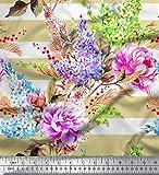 Soimoi Beige Viskose Chiffon Stoff Streifen, Lavendel &