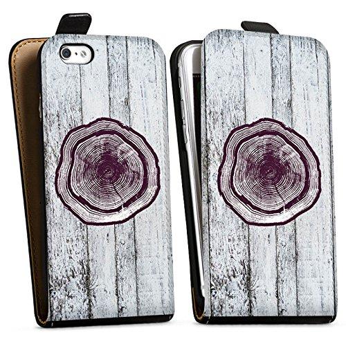 Apple iPhone X Silikon Hülle Case Schutzhülle Stamm Holz Look Baumstamm Downflip Tasche schwarz